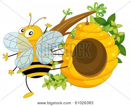 Illustration of a big fat bee near the beehive on a white background