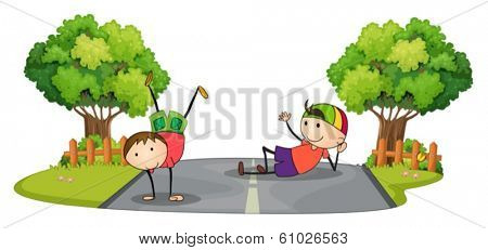 Illustration of the two kids playing in the middle of the road on a white background