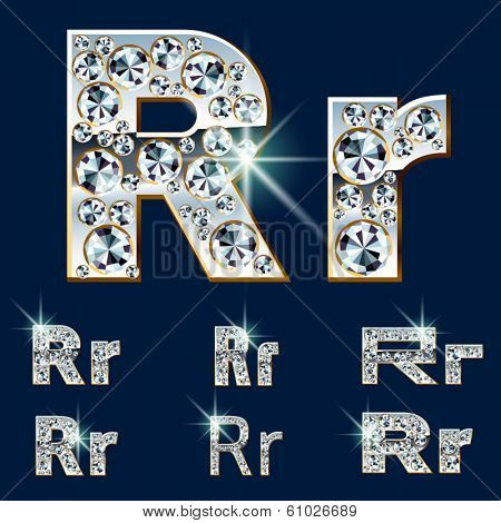 Ultimate vector alphabet of diamonds and platinum ingot. Six options. Letter r