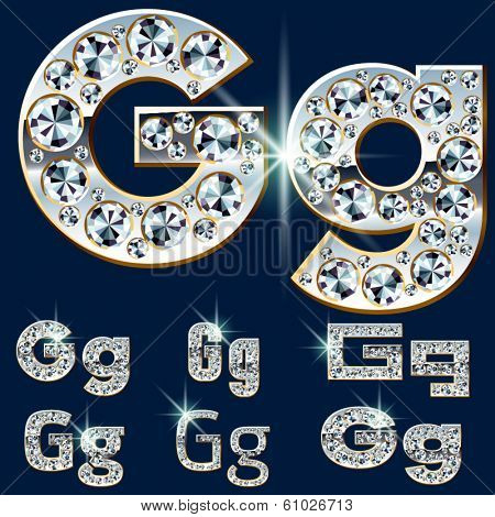 Ultimate vector alphabet of diamonds and platinum ingot. Six options. Letter g