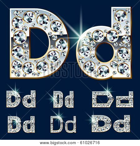 Ultimate vector alphabet of diamonds and platinum ingot. Six options. Letter d