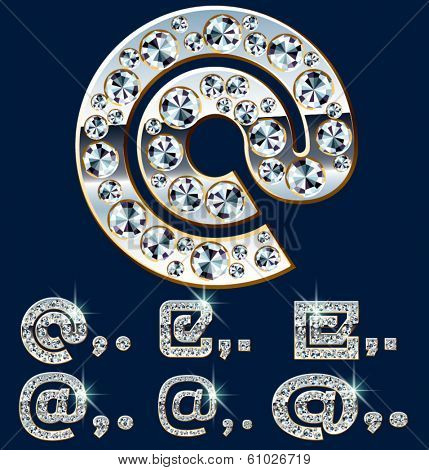 Ultimate vector alphabet of diamonds and platinum ingot. Six options. Symbols