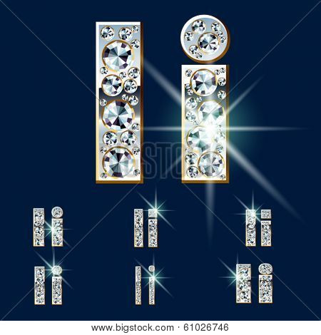 Ultimate vector alphabet of diamonds and platinum ingot. Six options. Letter i