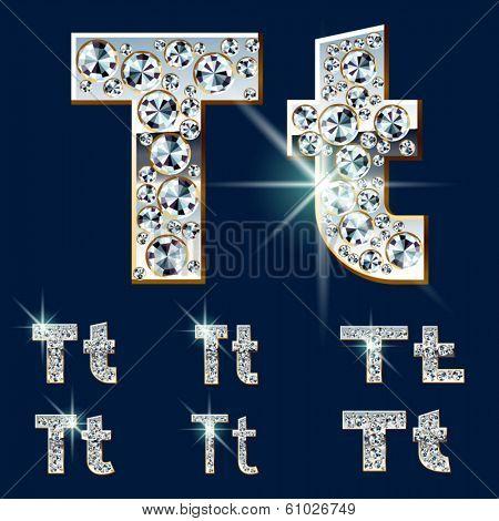 Ultimate vector alphabet of diamonds and platinum ingot. Six options. Letter t