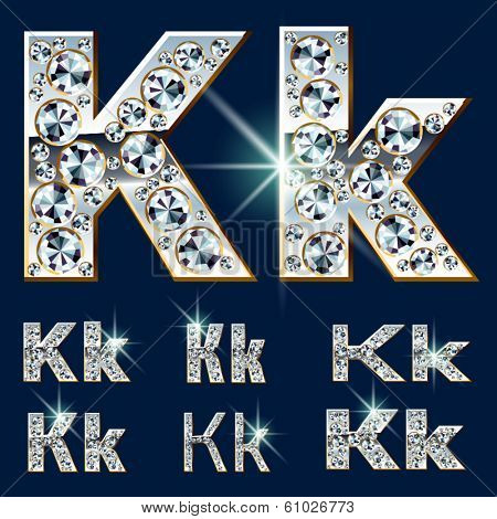 Ultimate vector alphabet of diamonds and platinum ingot. Six options. Letter k