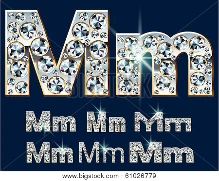 Ultimate vector alphabet of diamonds and platinum ingot. Six options. Letter m