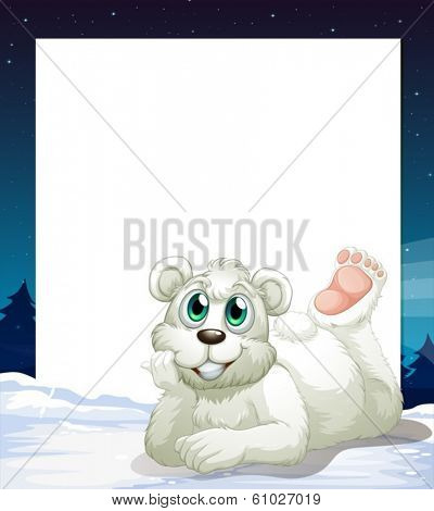 Illustration of an empty template with a smiling polar bear at the bottom