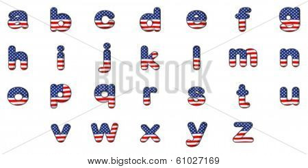 Illustration of the letters of the alphabet with the American flag design on a white background