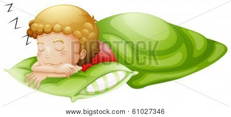 Illustration of a little boy sleeping soundly on a white background