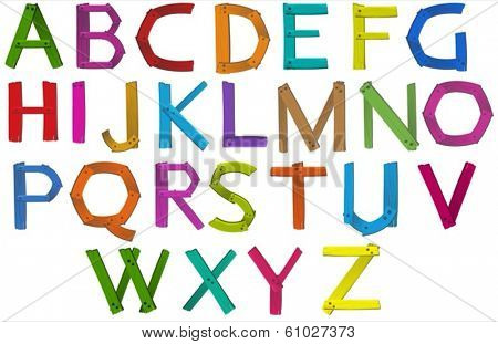 Illustration of the letters of the alphabet on a white background