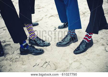 Groomsmen And Groom's Feet