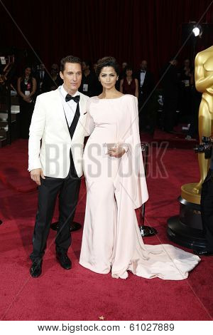 LOS ANGELES - MAR 2:: Matthew McConaughey, Camila Alves McConaughey  at the 86th Annual Academy Awards at Hollywood & Highland Center on March 2, 2014 in Los Angeles, California