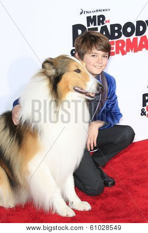 LOS ANGELES - MAR 5: Max Charles, Lassie at the premiere of 'Mr. Peabody & Sherman' at Regency Village Theater on March 5, 2014 in Los Angeles, California