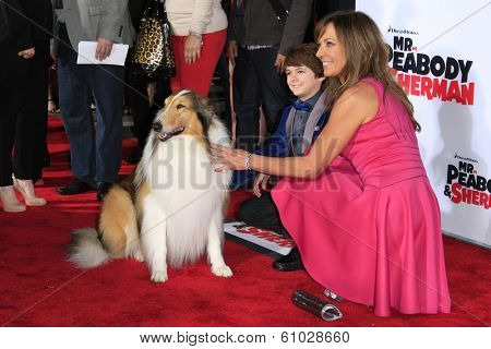LOS ANGELES - MAR 5: Allison Janney, Lassie, Max Charles at the premiere of 'Mr. Peabody & Sherman' at Regency Village Theater on March 5, 2014 in Los Angeles, California