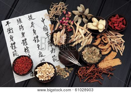 Acupuncture needles with chinese herbal medicine selection.
