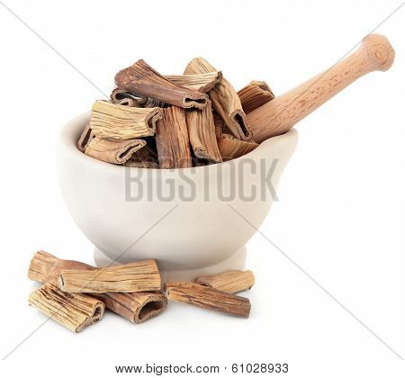 Reed root herb chinese herbal medicine in a stone mortar with pestle. Lu gen.