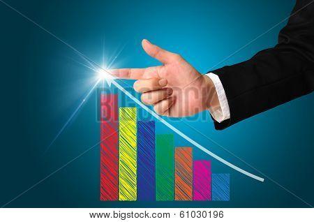 Business Man Writing Over Achievement Bar Chart