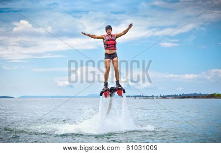 The new spectacular extreme sport called  flyboard, Cambodia.