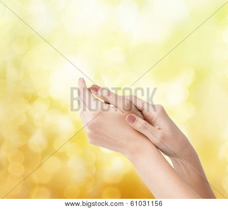 body parts, cosmetics and spa concept - close up of female soft skin hands