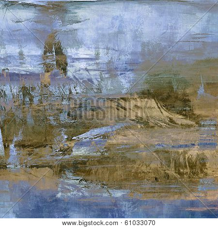 art abstract acrylic background in blue, beige and brown colors
