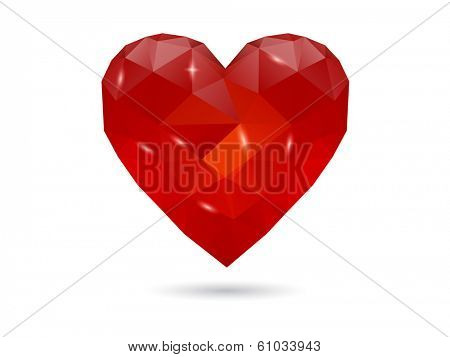 Low-poly Abstract Polygonal heart. Love symbol