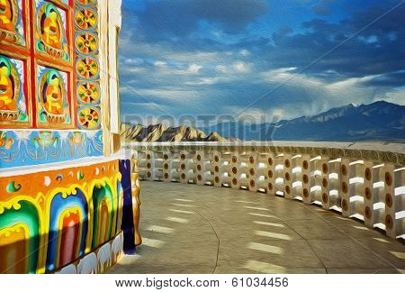 Oil Painting Stylized Photo Of Paintings On The Wall Of Shanti Stupa