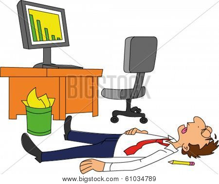 Dead businessman laying on floor next to desk with declining sales trend on computer screen
