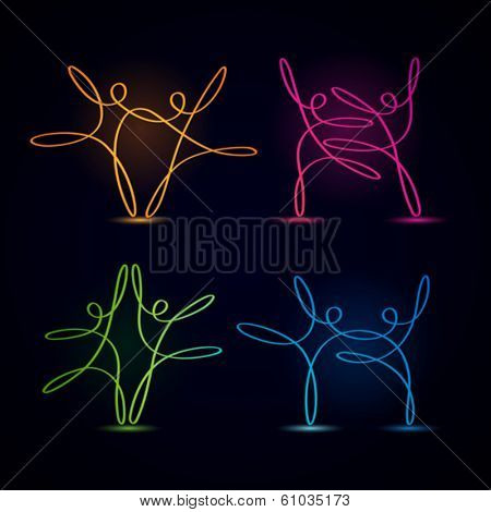 Dancing swirly line figures glowing on black background
