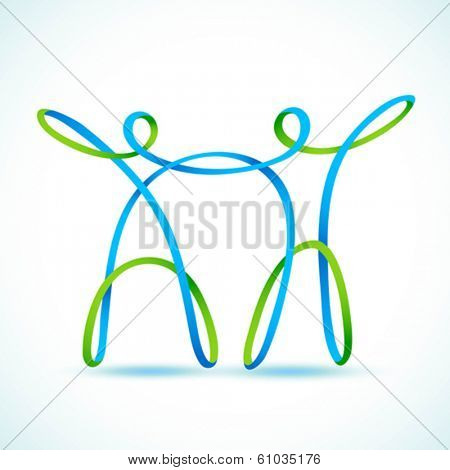 Couple made with swirly figures holding hands