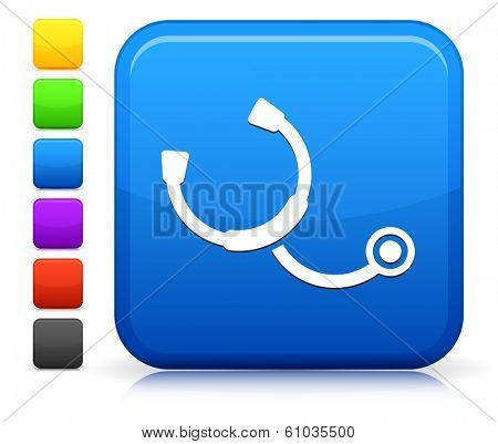 Stethoscope Icon on Square Internet Button Collection