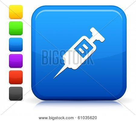 Injection Icon on Square Internet Button Collection