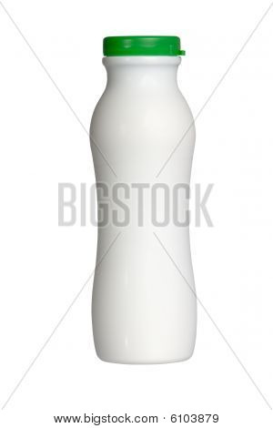 plastic milk bottle isolated on white