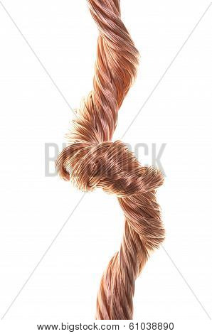 Copper wire isolated on white background