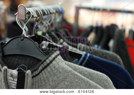Clothes Sale In A Supermarket