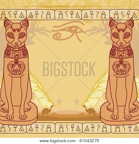 Stylized Egyptian Cat , Abstract Grunge Card