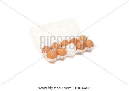 Open Eggbox Isolated On White Background