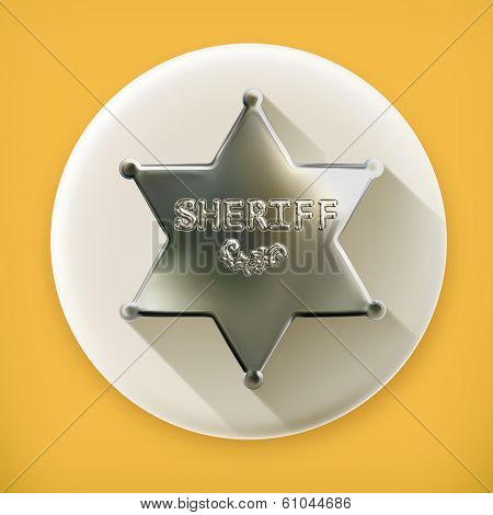 Sheriff star, long shadow vector icon
