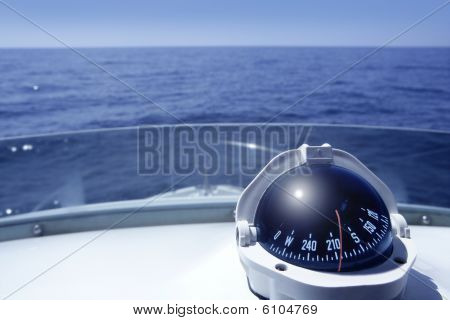 Compass On A Yacht Boat Tower