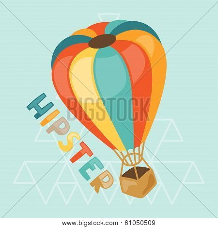 Design with air balloon in hipster style.