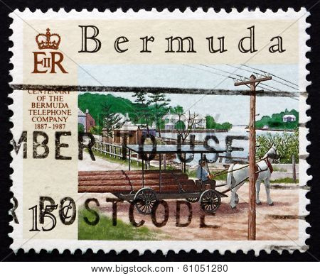 Postage Stamp Bermuda 1987 Telephone Poles On Wagon
