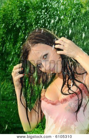 Woman Under A Rain