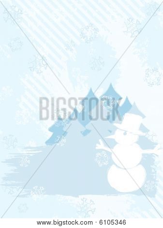 Vertical grungy winter background in light colors
