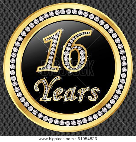 16 Years Anniversary Golden Happy Birthday Icon With Diamonds, Vector Illustration