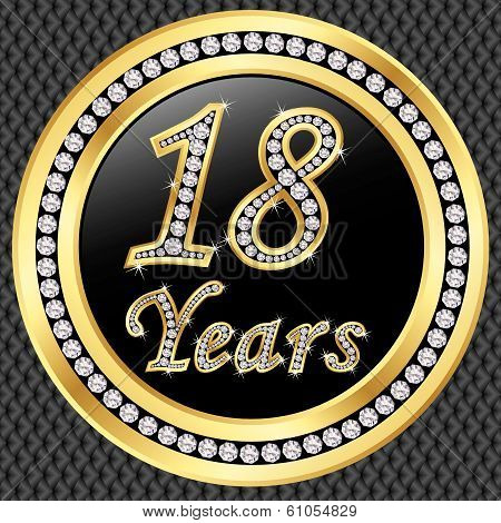 18 Years Anniversary Golden Happy Birthday Icon With Diamonds, Vector Illustration