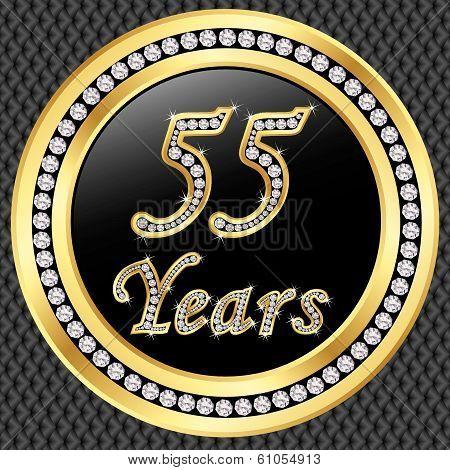 55 Years Anniversary Golden Happy Birthday Icon With Diamonds, Vector Illustration