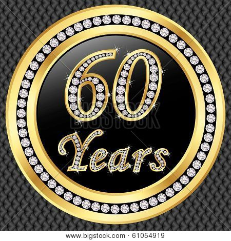 60 Years Anniversary Golden Happy Birthday Icon With Diamonds, Vector Illustration