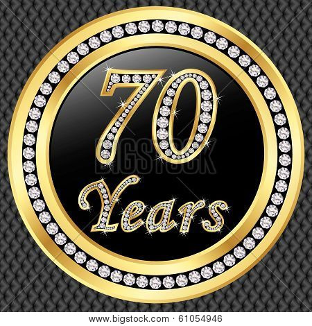 70 Years Anniversary Golden Happy Birthday Icon With Diamonds, Vector Illustration