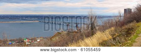 Saratov City. Road Bridge Over River Volga. Russia