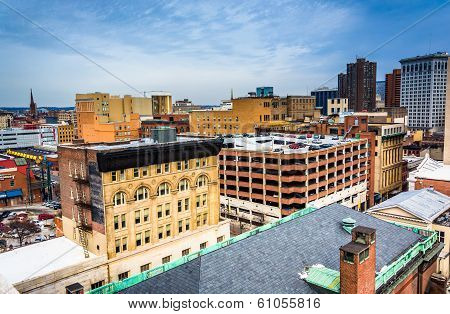 View Of Buildings From A Parking Garage In Baltimore, Maryland.
