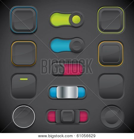 Dark button set including switches and push buttons in different design variations